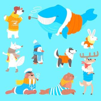 Animais do ártico, vestidos com roupas humanas, conjunto de ilustrações