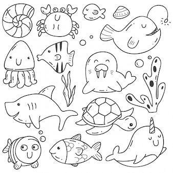 Animais do mar doodle arte de linha kawaii
