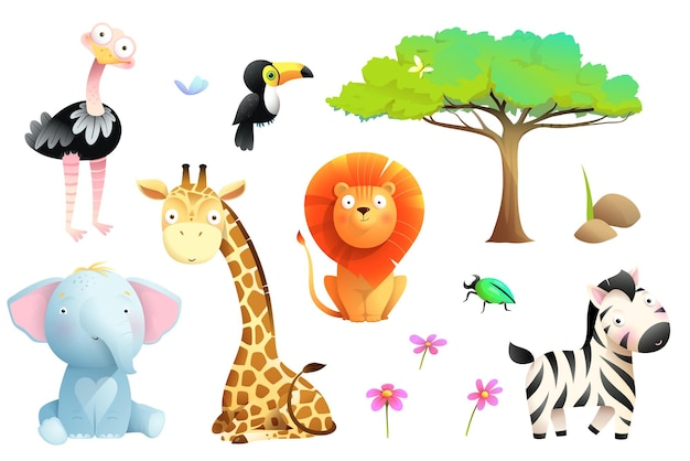 Animais do safári africano coleção de clipart isolada vida selvagem da selva definida para crianças desenho vetorial