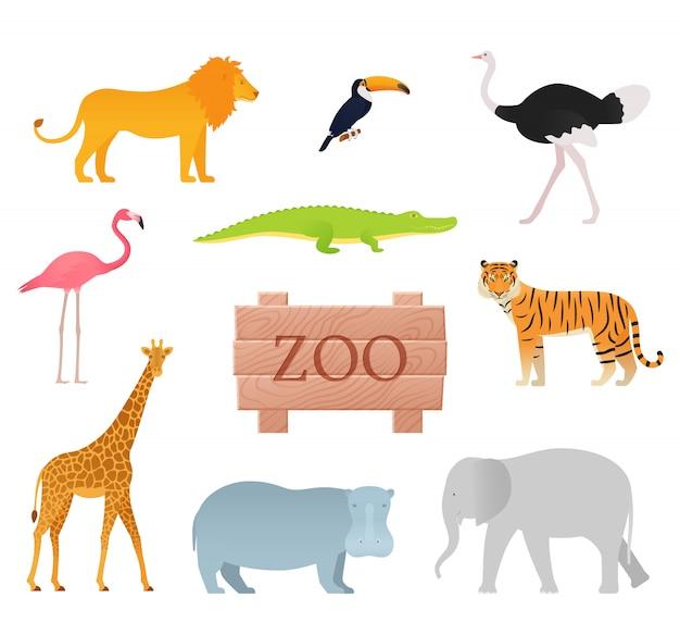 Animais do zoológico. . animal ícone definido com placa de madeira.