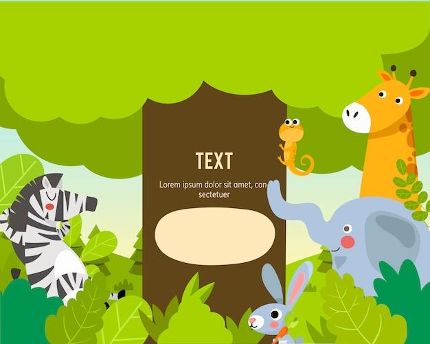 Animais do zoológico com modelo de texto