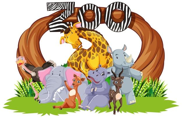 Animais do zoológico no fundo da natureza selvagem