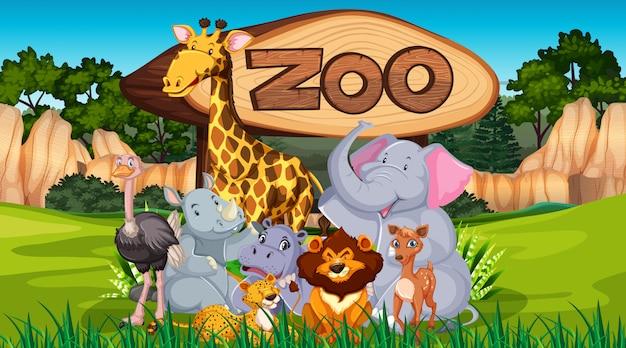 Animais do zoológico no fundo natureza selvagem