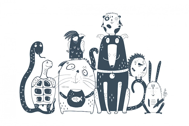 Animais domésticos animais de estimação juntos retrato