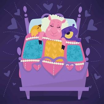Animais dormindo em animais de conto de fadas de cama dormindo conjunto.