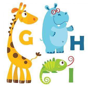 Animais dos desenhos animados alfabeto