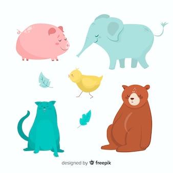 Animais dos desenhos animados da fazenda e animais selvagens