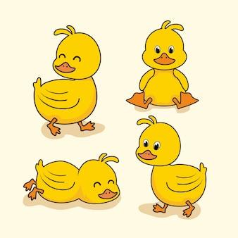 Animais dos desenhos animados do pato bebê