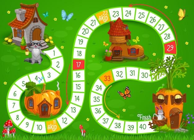 Animais dos desenhos animados e casas de fadas para crianças, jogo de tabuleiro ou quebra-cabeça