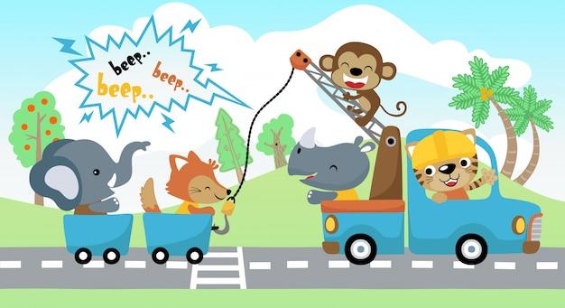 Animais dos desenhos animados férias com caminhão de reboque
