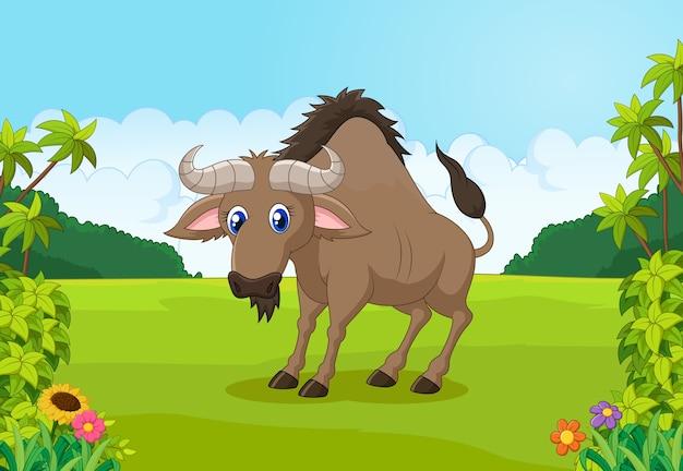 Animais dos desenhos animados gnus na selva