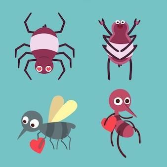 Animais dos desenhos animados ícones com aranha e mosquito.