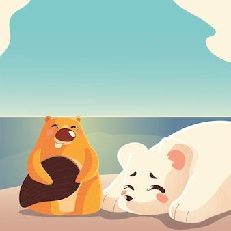 Animais dos desenhos animados, urso polar e ilustração da paisagem natural do castor