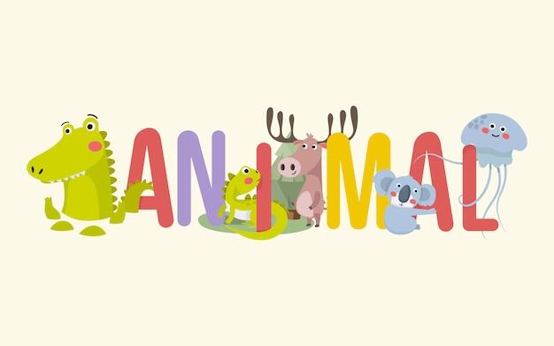 Animais e banner de tipografia