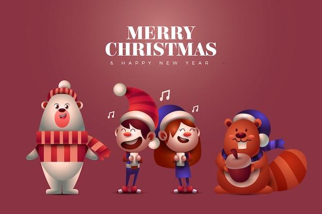 Animais e crianças cantando personagens de natal