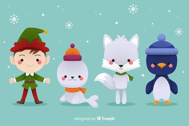 Animais e elf coleção de personagens de natal