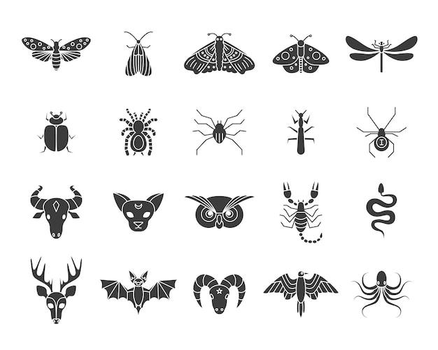 Animais e insetos místicos. borboleta mariposa, escorpião, escorpião, cobra, coruja, veado