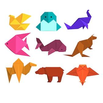 Animais e pássaros feitos de papel na técnica de origami ilustrações
