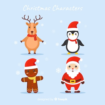 Animais e personagens de design plano de papai noel