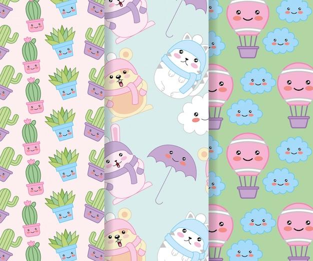 Animais e plantas com balões design de personagens kawaii quente