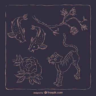 Animais e plantas coreano
