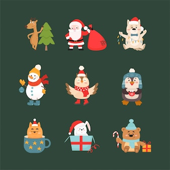 Animais e símbolos de celebração de natal conjunto de ilustrações vetoriais