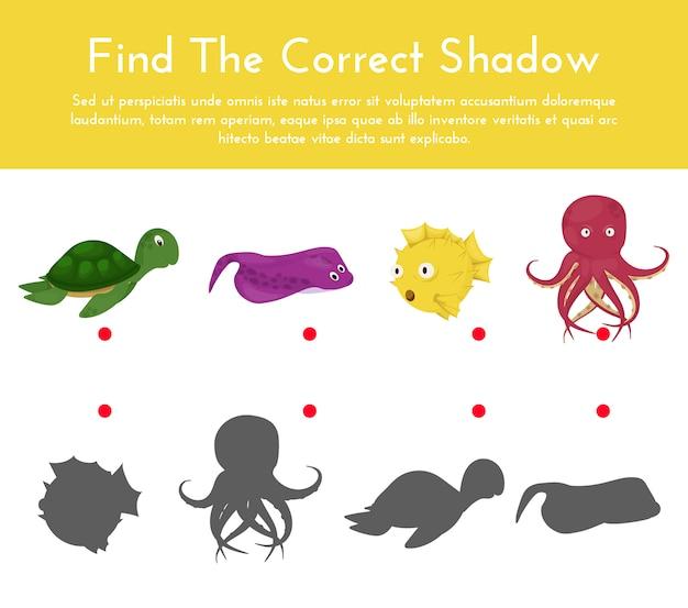 Animais e suas formas de sombra jogo de correspondência