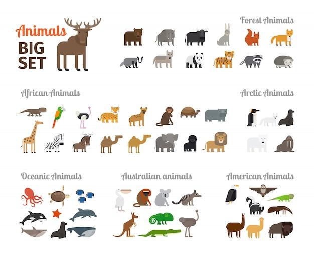 Animais em estilo plano