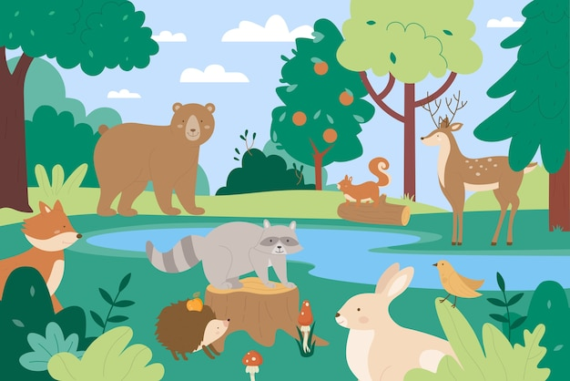 Animais em fundo de cenário de natureza selvagem de floresta de verão