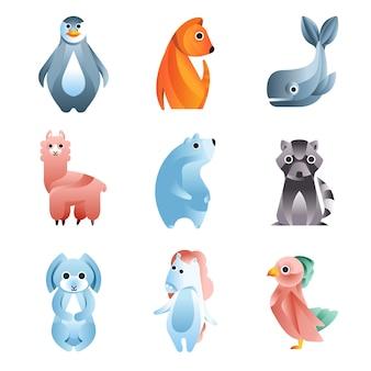 Animais em um estilo geométrico com o uso de gradientes e formas suaves com um conjunto de ilustrações coloridas