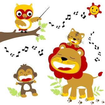 Animais engraçados cantar, ilustração vetorial de desenhos animados