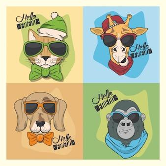 Animais engraçados com óculos de sol estilo legal