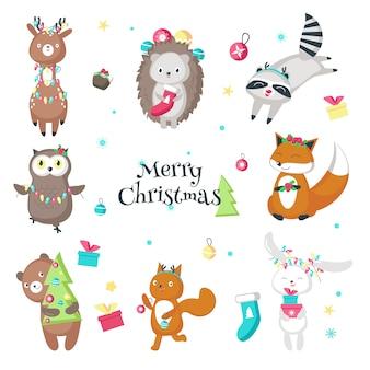 Animais engraçados de natal fofos vector ilustração isolada