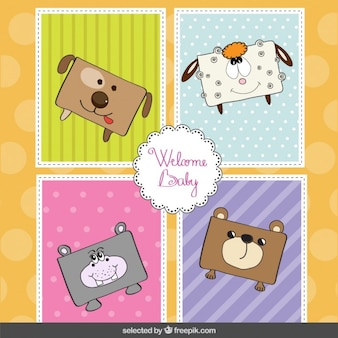 Animais engraçados do bebê cartão do chuveiro