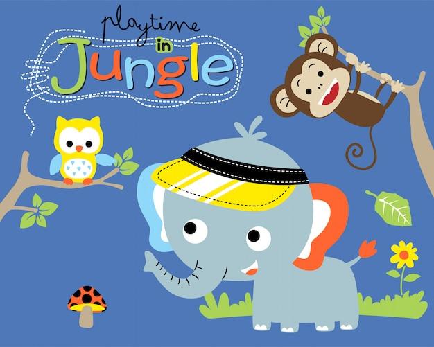 Animais engraçados dos desenhos animados na selva