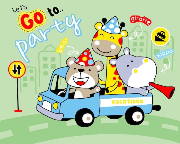 Animais engraçados dos desenhos animados no caminhão