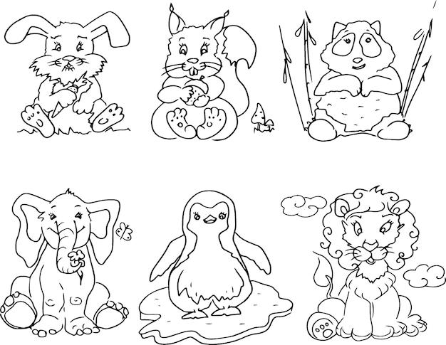 Animais engraçados e fofos rabiscam para desenhar e colorir