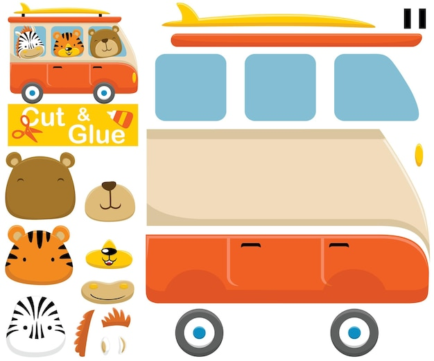 Animais engraçados na van. jogo de papel de educação para crianças. recorte e colagem. ilustração dos desenhos animados