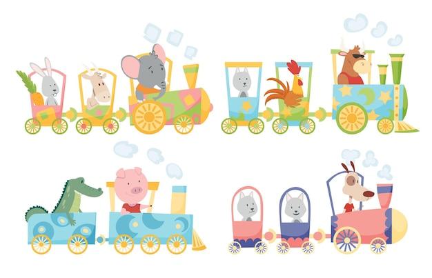 Animais engraçados no design da ilustração da locomotiva