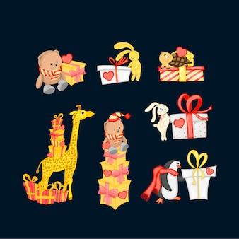 Animais estilo desenho animado com presentes