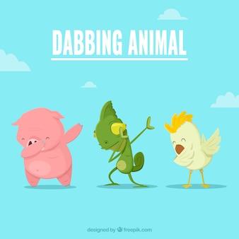 Animais, fazendo, dabbing, movimento