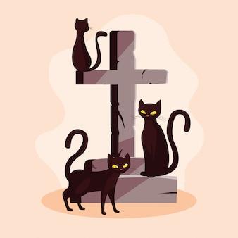 Animais felinos de gatos do dia das bruxas com cruz de pedra