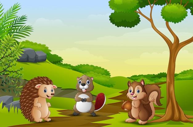 Animais felizes desfrutando no campo