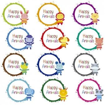 Animais felizes emblemas coleção