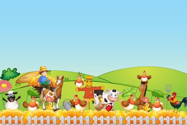 Animais felizes na fazenda