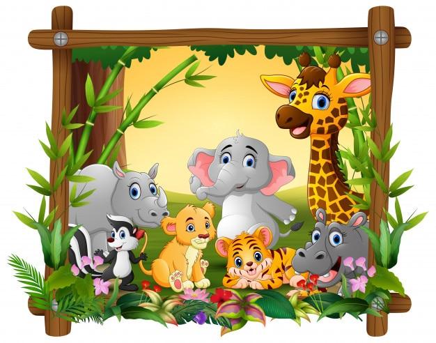 Animais felizes na floresta de quadro