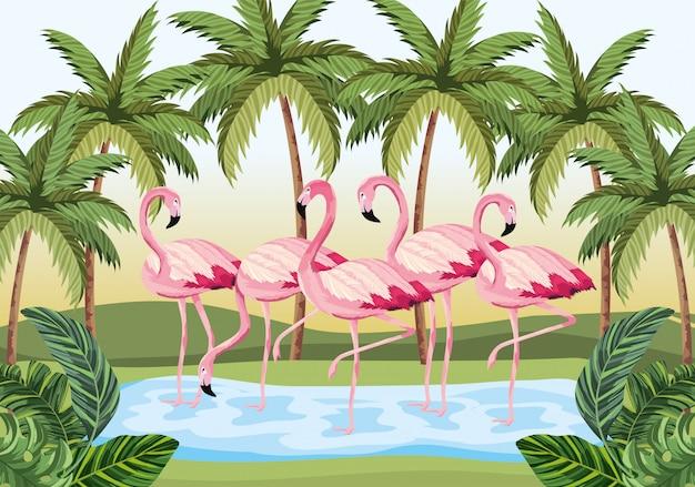 Animais flamingos tropicais com palmeiras e folhas