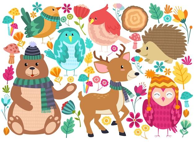 Animais floresta bonito dos desenhos animados