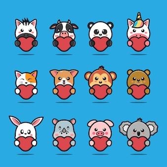 Animais fofos abraçando uma ilustração de desenho animado de coração vermelho