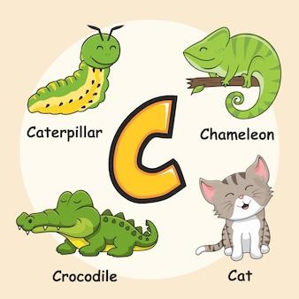 Animais fofos alfabeto letra c